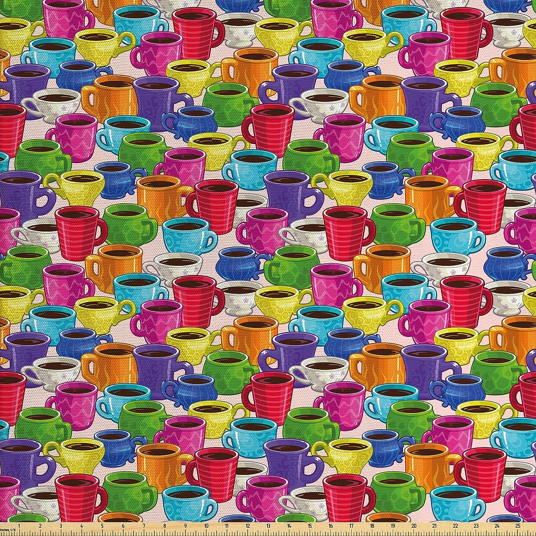 Amazon Com Ambesonne Cartoon Fabric By The Yard Colorful Vivid