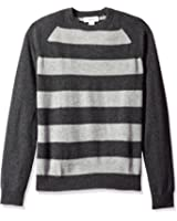 Williams Cashmere Men's 100% Stripe Colorblock Crew Neck Raglan