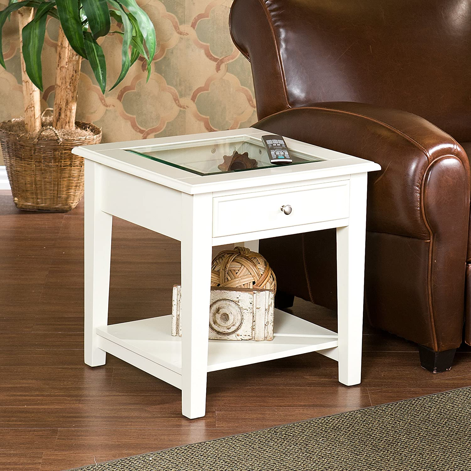 Panorama End Table – Open Display Glass Top w Store – Off White Finish