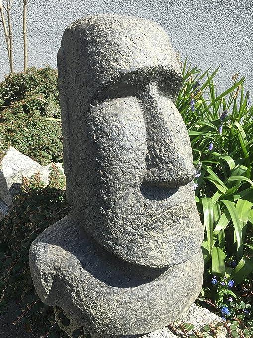 piedra Figura Escultura Lava Piedra moái Busto para jardín Isla de Pascua Gross H 40 cm: Amazon.es: Jardín