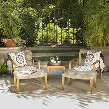 Savannah Outdoor Mid Century 5 Piece Grey Wicker Chat Set With Natural  Stained Acacia Wood Frame