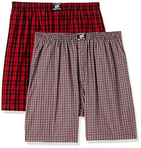 Hanes Men's Checkered Boxers (Pack of 2) Boxers at amazon