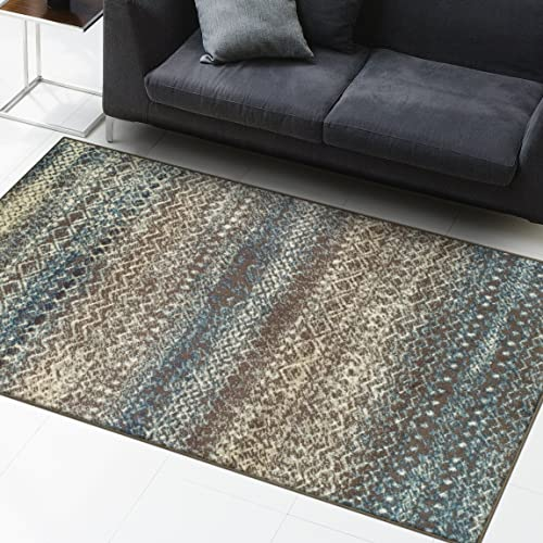Superior Area Rug 2 x 3 10mm Pile Height with Jute Backing, Woven Fashionable and Affordable Sunderland Collection, Taupe-Ivory