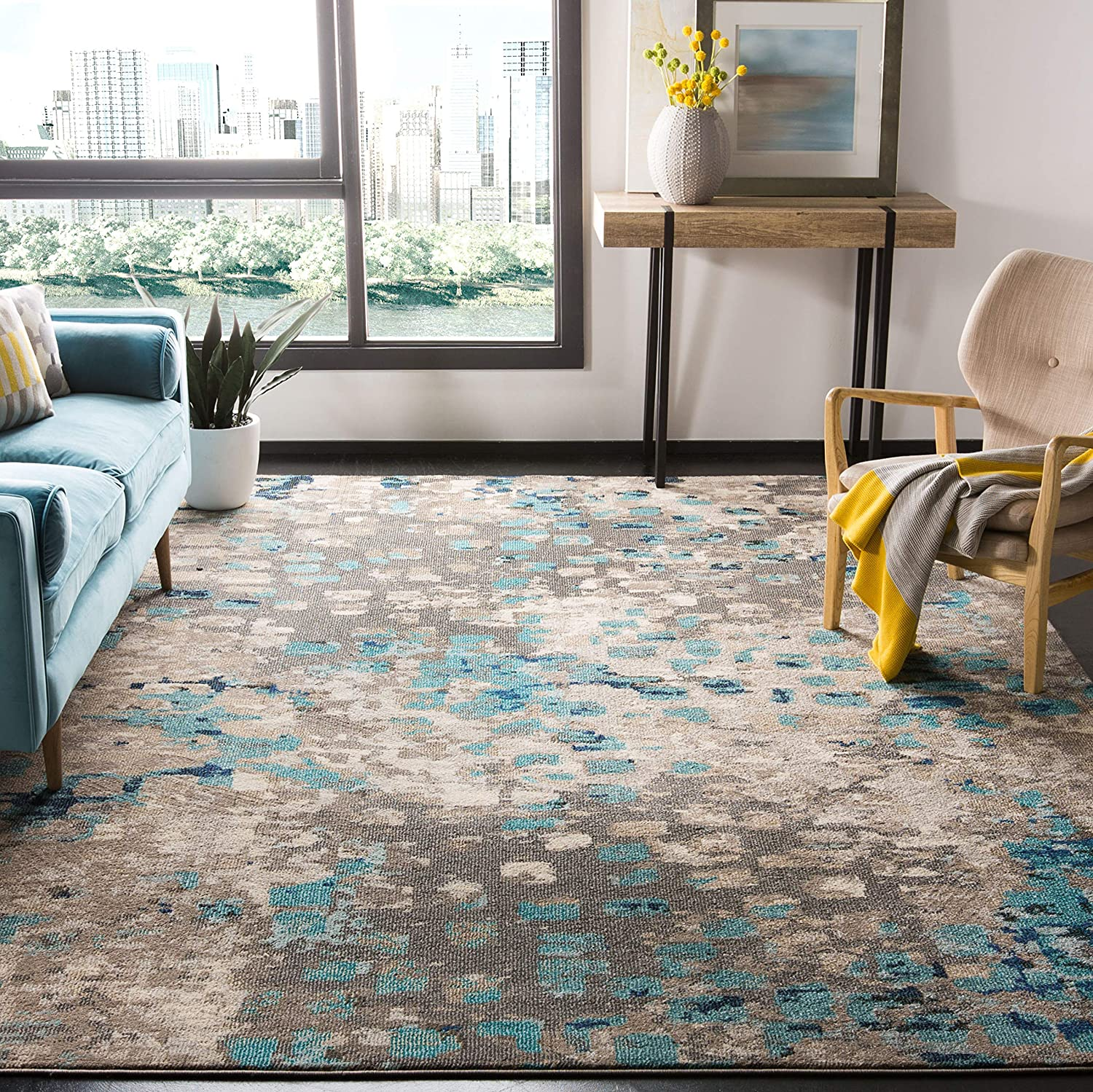 "Safavieh Monaco Collection MNC225E Modern Abstract Grey and Light Blue Area Rug (5'1"" x 7'7"")"