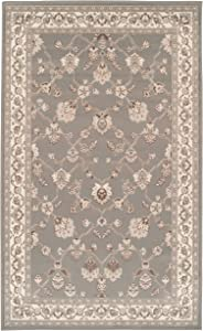 Superior Elegant Kingfield Collection Area Rug, 8mm Pile Height with Jute Backing, Classic Bordered Rug Design, Anti-Static, Water-Repellent Rugs - Slate, 4' x 6' Rug