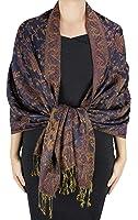 Peach Couture Women's Elegant Reversible Floral Paisley Pashmina Stole Shawl Wrap