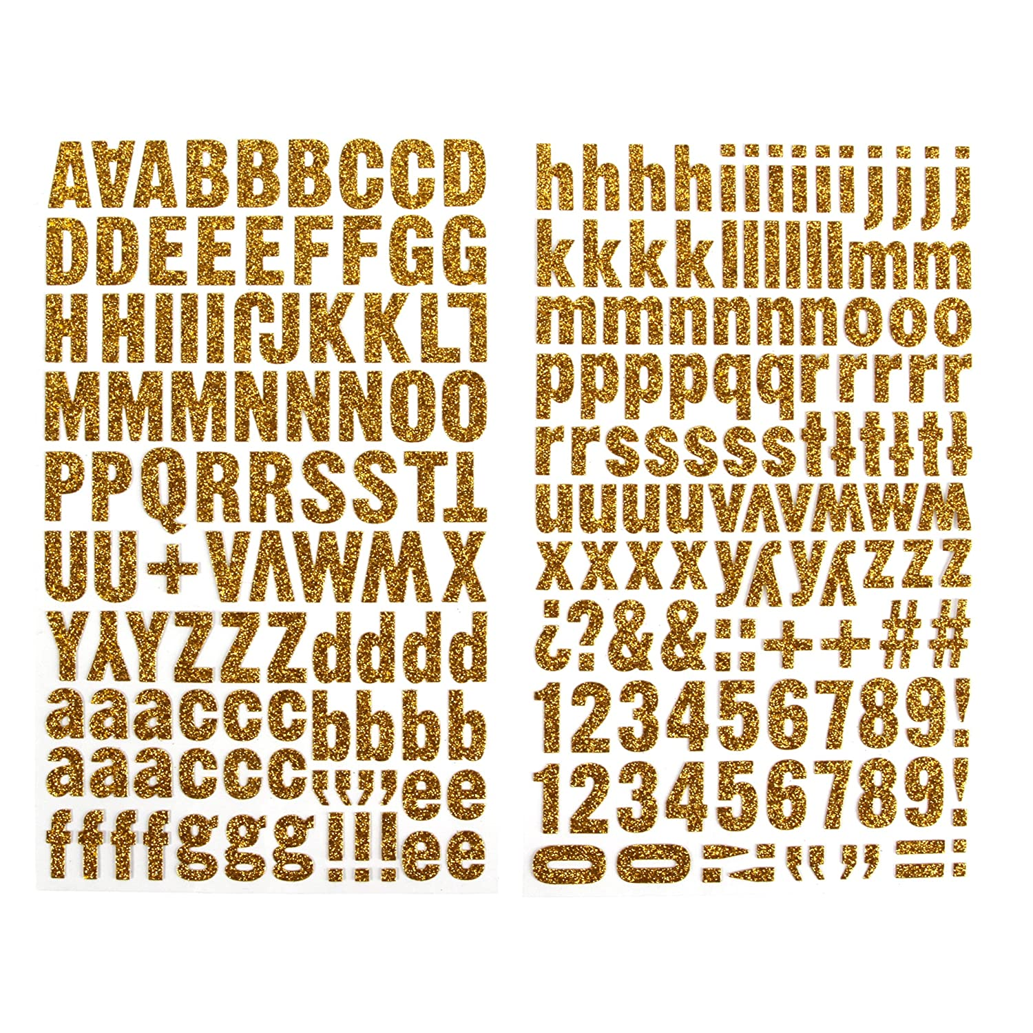 Darice 1219 37 220 Piece Glitter Alphabet Sticker Upper And Lower Case Letters Gold