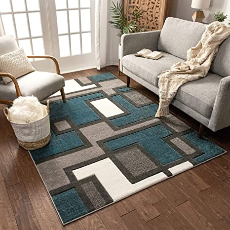 Uptown Squares Blue Grey Modern Geometric Comfy Casual Hand Carved Area Rug 5x7 5 3 X 7 3 Easy To Clean Stain Fade Resistant Abstract Boxes Contemporary Thick Soft