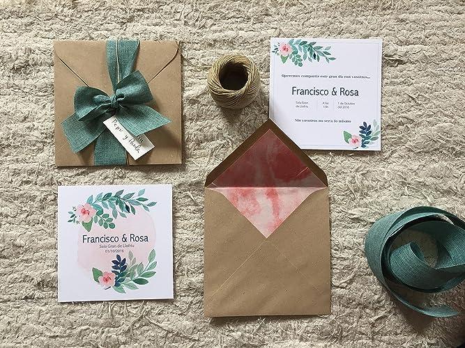 Diseño box - Invitación para boda Romance, papel verjurado con impresión floral, rosa y