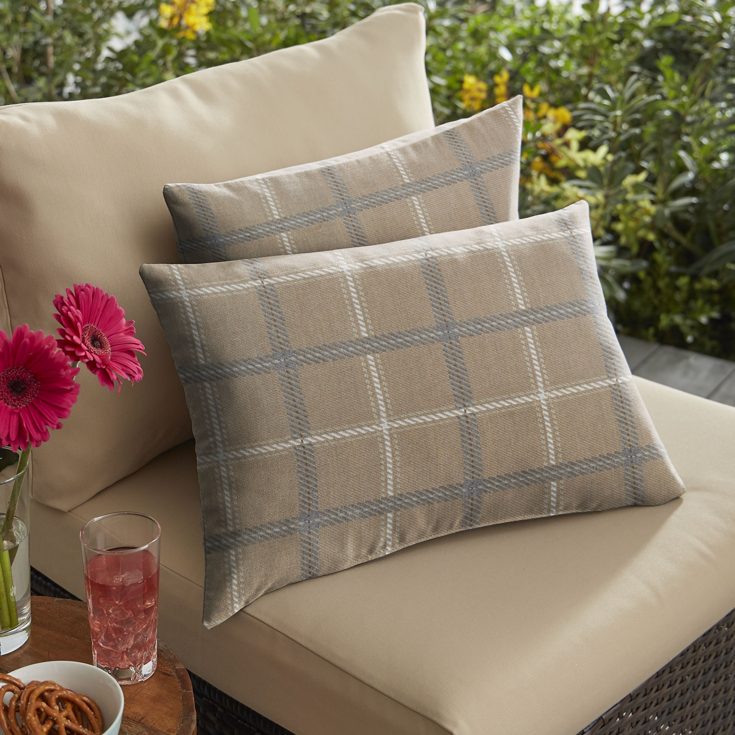 Mozaic AMPS116902 Sunbrella Tartan Plaid Indoor/Outdoor Lumbar Pillow (Set of 2), 12'' x 18'', Tan