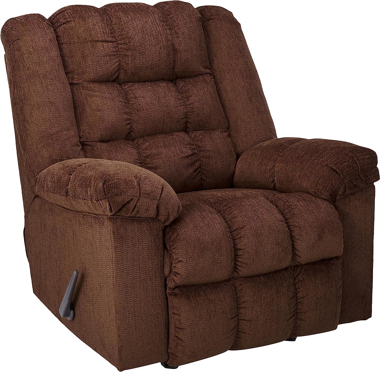 Ashley Furniture Signature Design – Ludden Rocker Recliner – 1 Pull Manual Reclining Sofa – Contemporary – Cocoa Brown