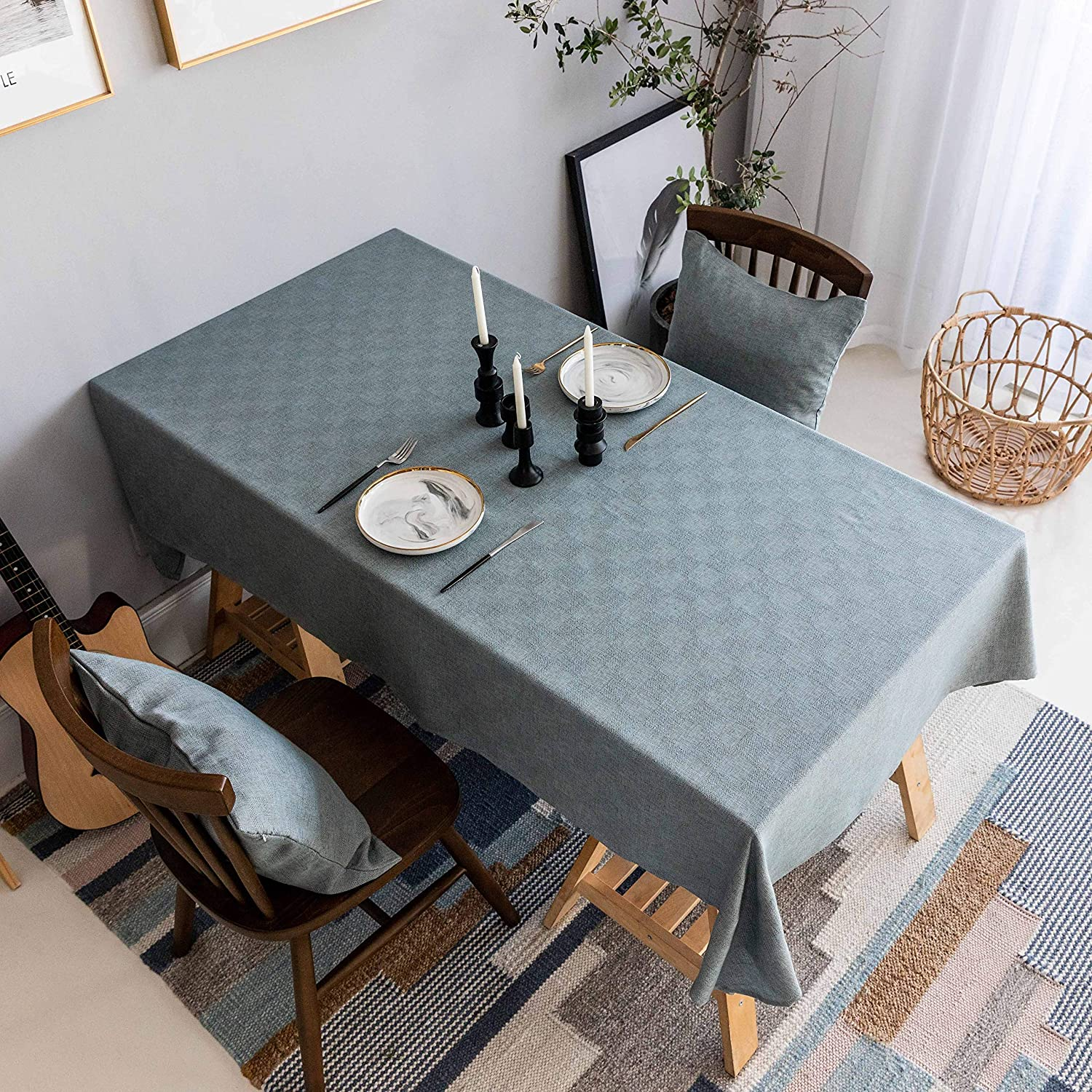 Home Brilliant Tablecloth Solid Farmhouse Checker Table Covers for Party Kitchen Indoor Outdoor Table Clothes for Dining Table, 52x102 inch, Grey Blue with Brown Thread