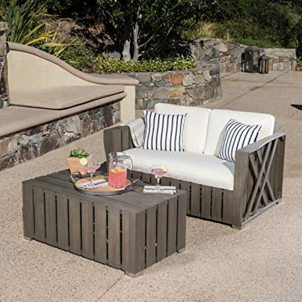 Great Deal Furniture Edward Outdoor Grey Finished Acacia Wood Loveseat And Coffee  Table Set With Grey