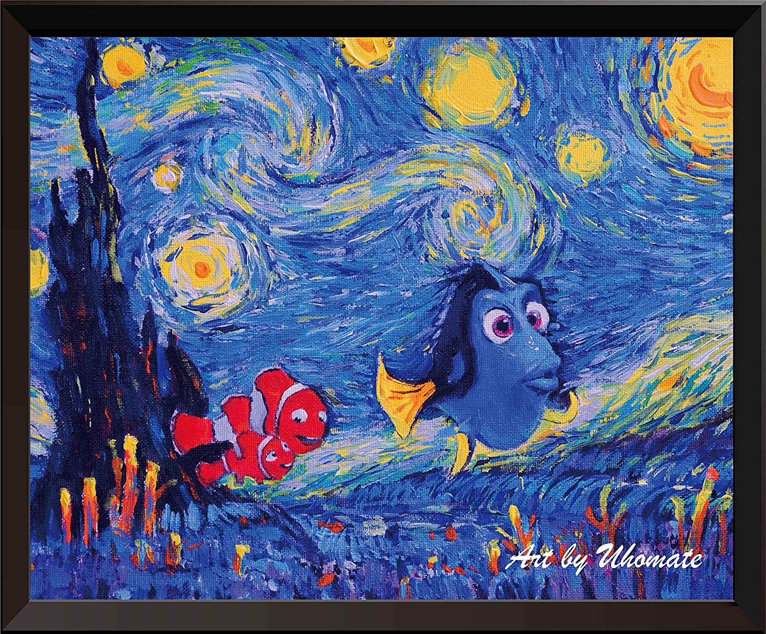 Uhomate Dory Finding Nemo Inspired Vincent Van Gogh Starry Night Posters Home Canvas Wall Art Baby Gift Nursery Decor Living Room Wall Decor A006 (8X10 inch)