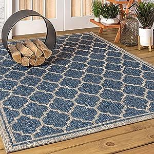 JONATHAN Y Trebol Moroccan Trellis Textured Weave Indoor/Outdoor Navy/Gray 3 ft. x 5 ft. Area Rug, Coastal,EasyCleaning,HighTraffic,LivingRoom,Backyard, Non Shedding