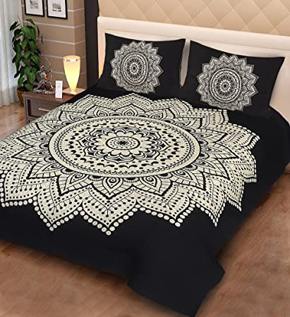 Urban Fab 100% Cotton Double Bedsheet with 2 Pillow Covers - King Size, Black Star