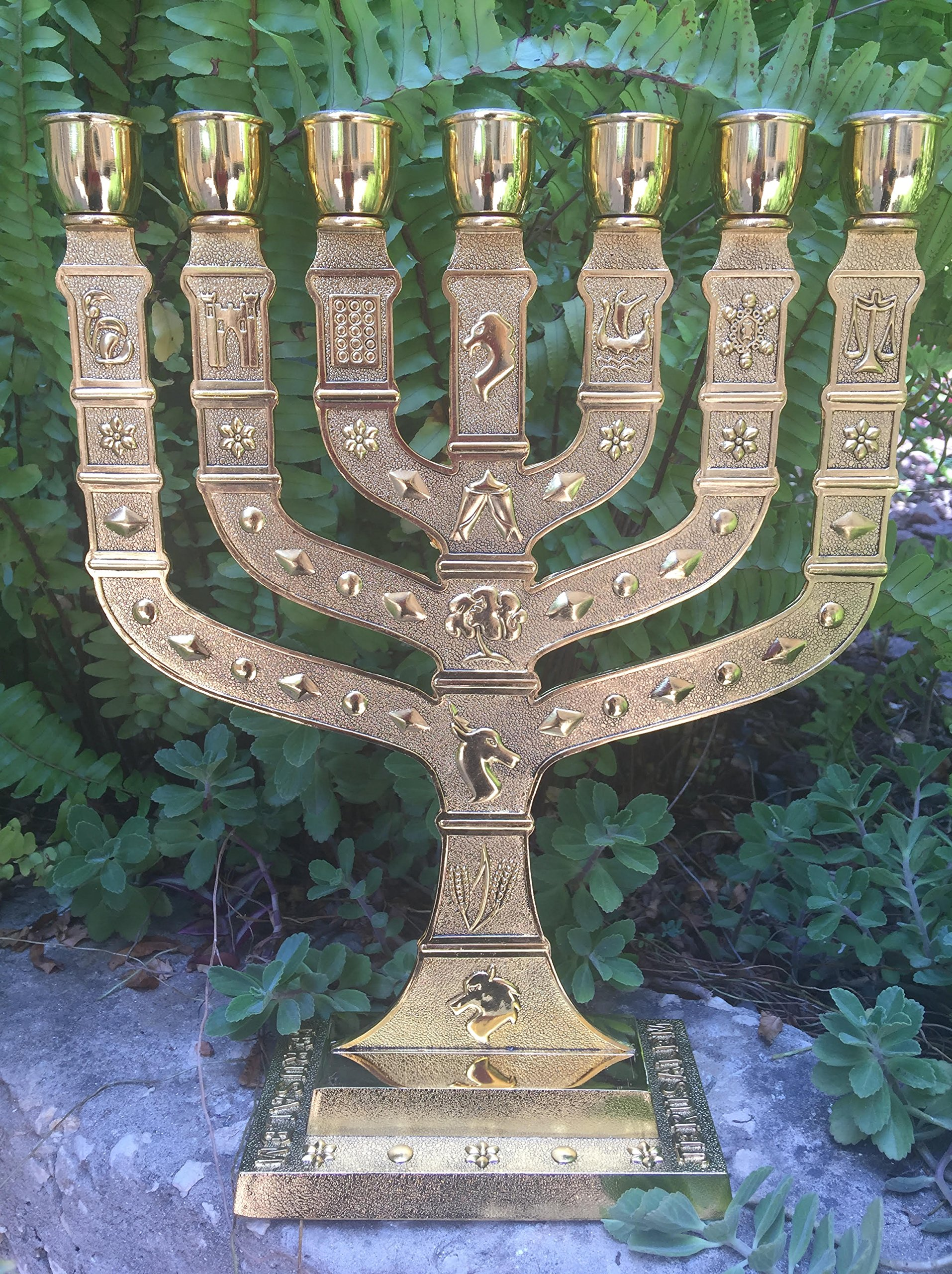 Yaliland Large Authentic Menorah in Gold Plated with 12 Signs from Jerusalem 14'' Inch Heigh by Yaliland (Image #3)