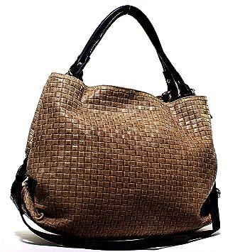 2f31a75379ae80 Echt Leder Handtasche Shoppertasche Schultertasche Geflochten Damentasche  Taupe