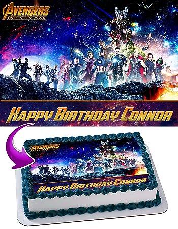 Avenger Infinity War Edible Image Cake Topper Personalized Birthday 1 4 Sheet Decoration Custom