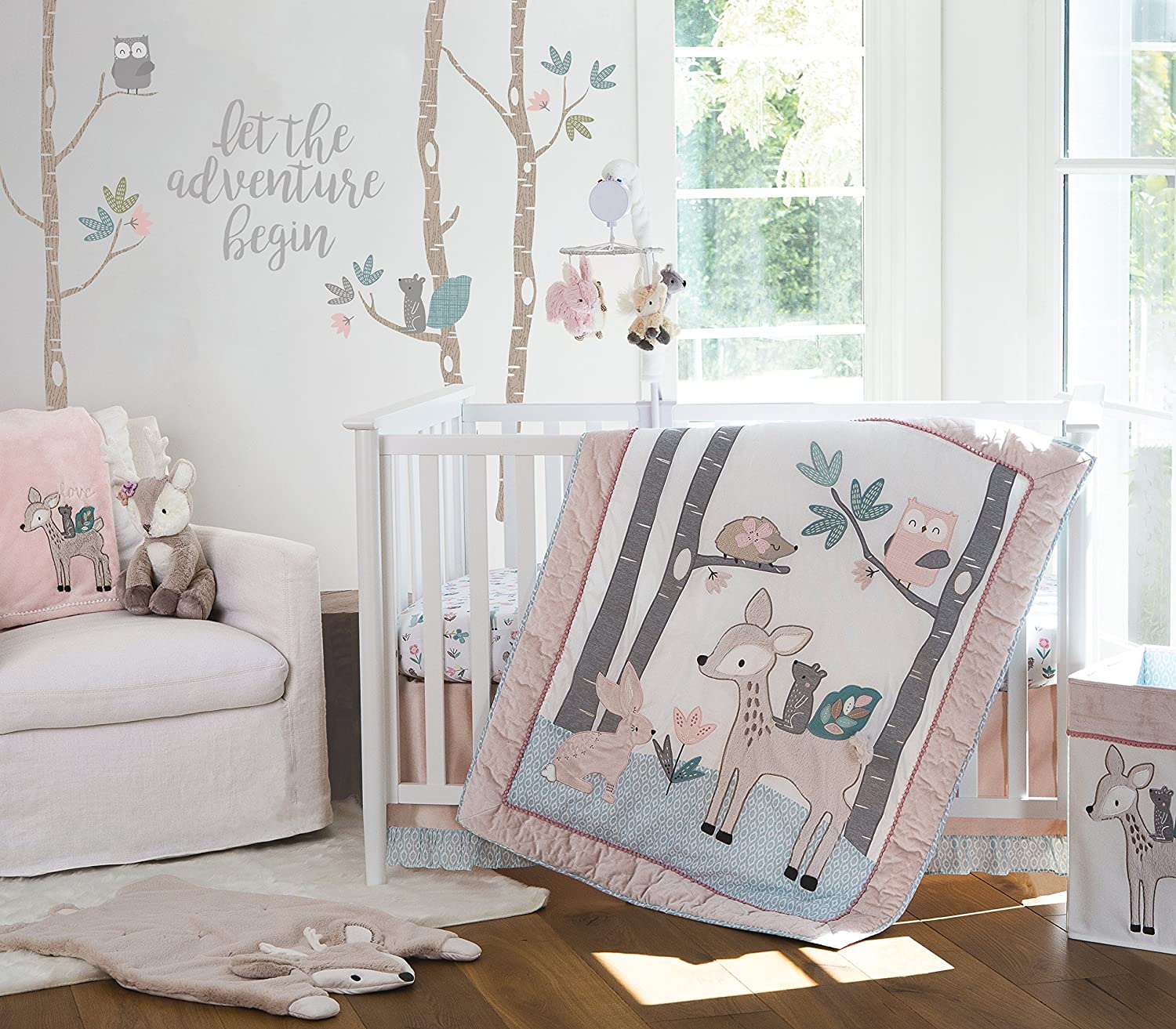Levtex Baby Everly 5 Piece Bedding Set, Quilt, 100% Cotton Crib Fitted Sheet, Dust Ruffle, Diaper Stacker and Large Wall Decals