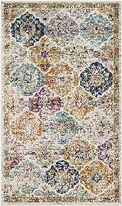 "Safavieh Madison Collection MAD611B Bohemian Chic Vintage Distressed Area Rug, 2' 3"" x 4', Cream/Multi"