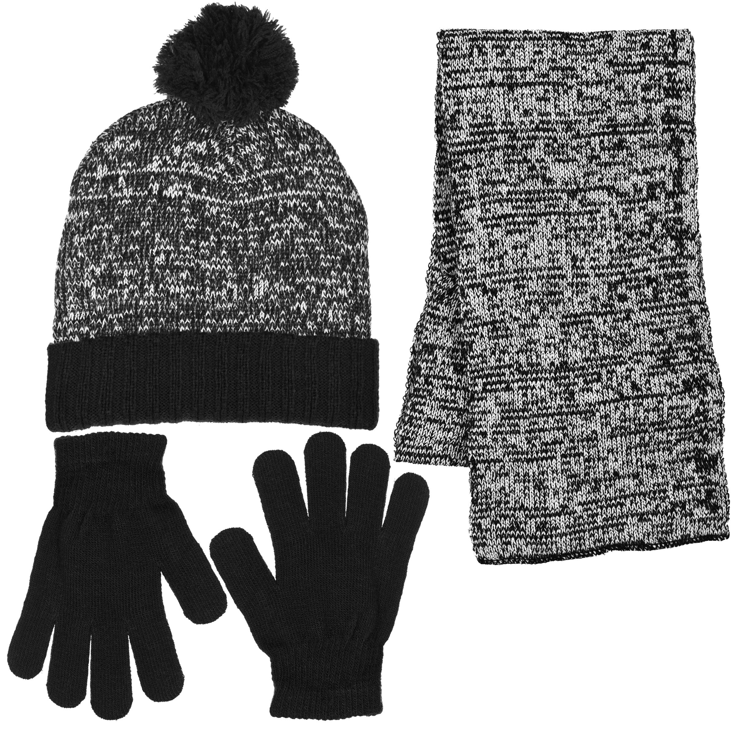 Boys 3 Piece Marled Pattern Knit Cuffed Pom Beanie Scarf & Gloves Set 3 Colors (Black)