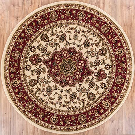 Deco Rings Red Geometric Modern Casual Area Rug 5x7 53quot X 7 Noble Medallion Ivory Persian Floral Oriental Formal Traditional 5 Round