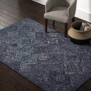 "Amazon Brand – Rivet Motion Modern Patterned Wool Area Rug, 5' x 7' 6"", Denim Blue"