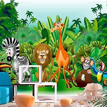 Fototapete kinderzimmer dschungel  decomonkey | Fototapete Kinderzimmer Tiere Zoo Dschungel 250x175 cm ...