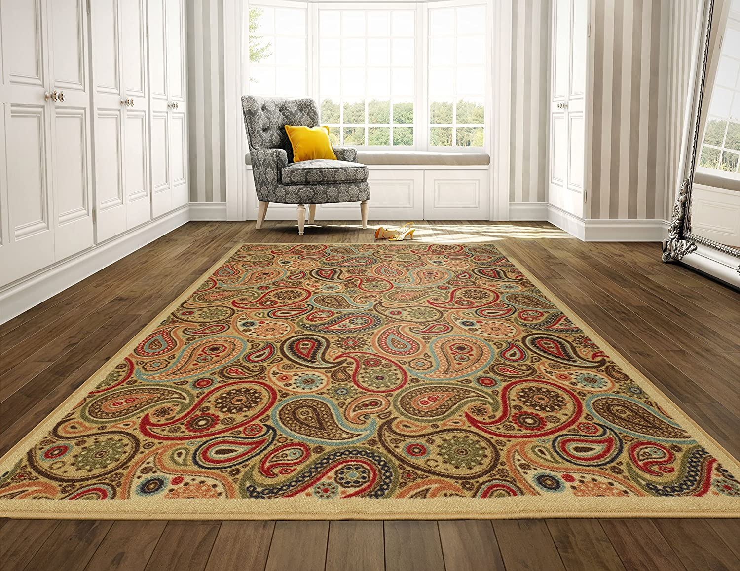 Ottomanson Ottohome Collection Contemporary Paisley Design Modern Runner Rug with Non-Skid (Non-Slip) Rubber Backing, 1'10 W X 7' L, Beige 1'10 W X 7' L OTH2152-2X7