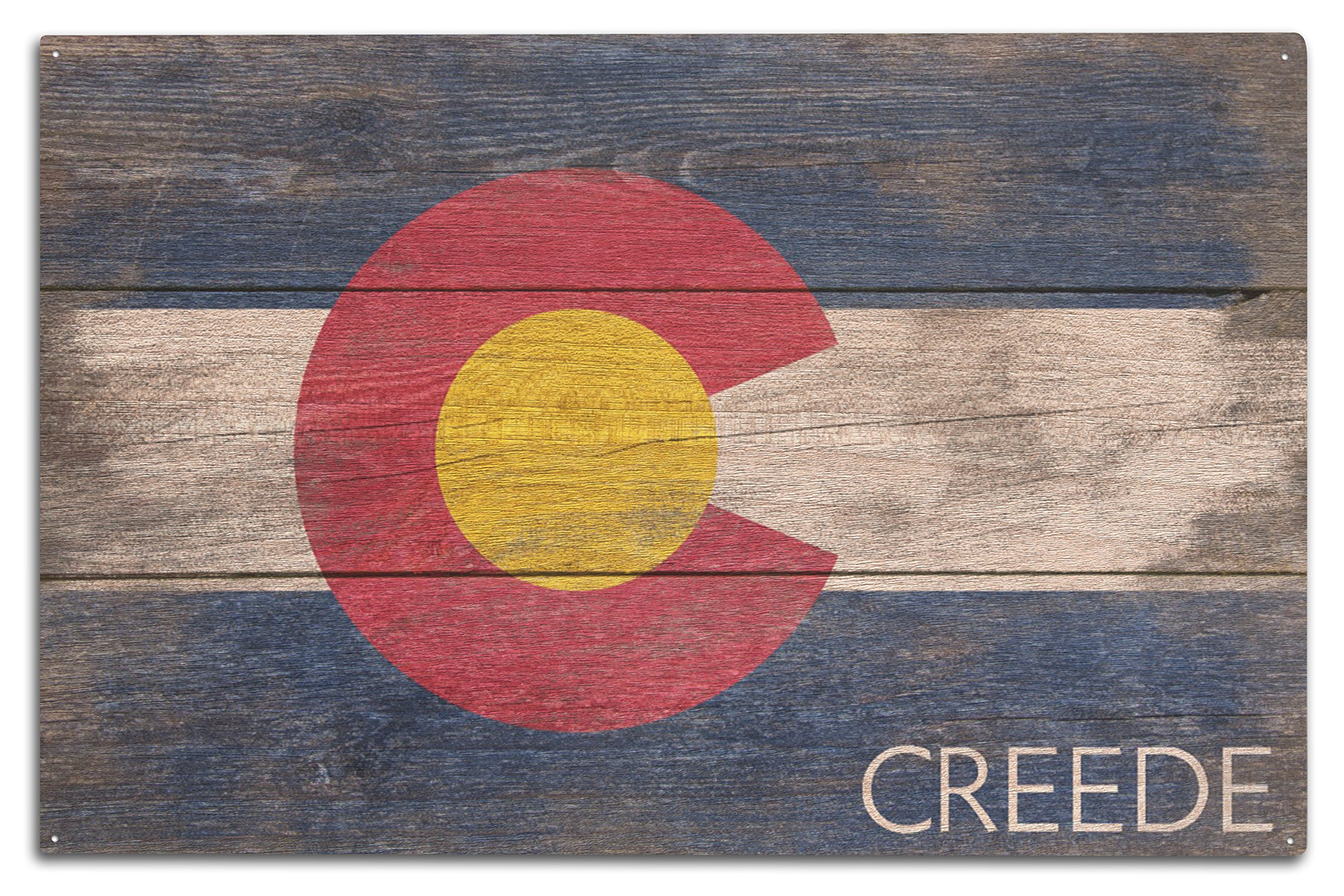 Lantern Press Creede - Rustic Colorado State Flag (10x15 Wood Wall Sign, Wall Decor Ready to Hang)