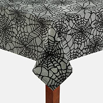 halloween black spider webs grey cotton jacquard fabric tablecloth 52 x 70 rectangleoblong - Halloween Lace Fabric