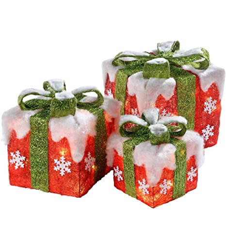 Christmas Presents.Werchristmas Pre Lit Led Christmas Presents With Green Ribbon And Snow 15 20 26 Cm Multi Colour Set Of 3