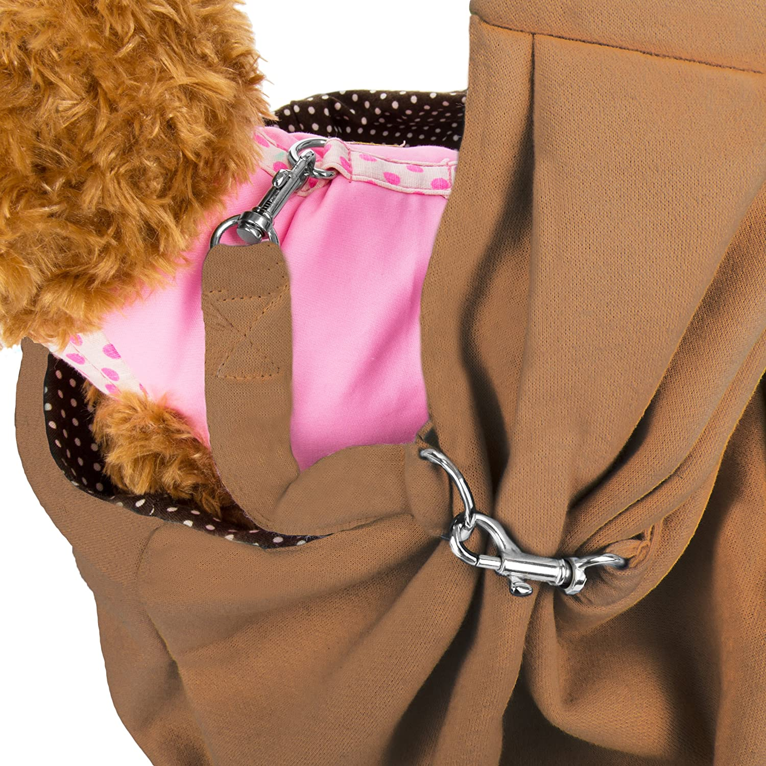 CUE CUE Pet 100% Plush Cotton Reversible Pet Sling Carrier Suitable for Small to Medium Sized Dogs, Cats, Rabbits, Pet's Mocha Brown