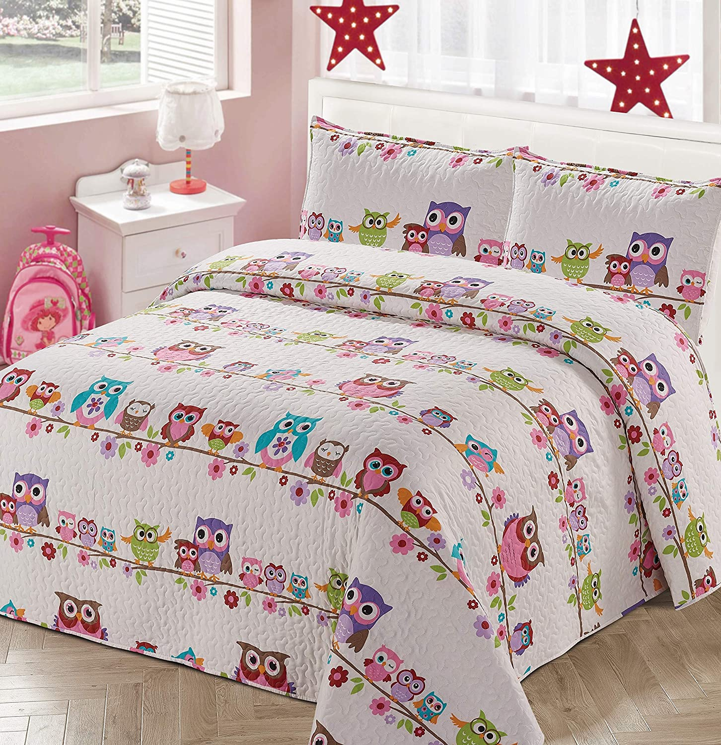 Kids Zone Home Linen 2pc Twin Bedspread Coverlet Quilt Set for Girls with Multi-Color Owls Flowers White Pink Purple Green