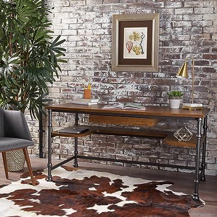 industrial rustic design furniture. Loster Home Office Desk | Industrial, Rustic Design Faux Ash Wood Overlay  Dark Industrial Rustic Design Furniture T