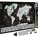 Scratch Off World Map Poster with Country Flags, US States Outlined| Detailed Tracker Travel Map For Travelers to Track Your Adventure| Personalized w/ Sticker & Push Pins| Perfect Gift by Zoptica