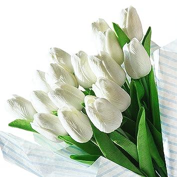 Amazon De 20pcs Kunstliche Tulpen Gefalschte Blumen Aus Latex