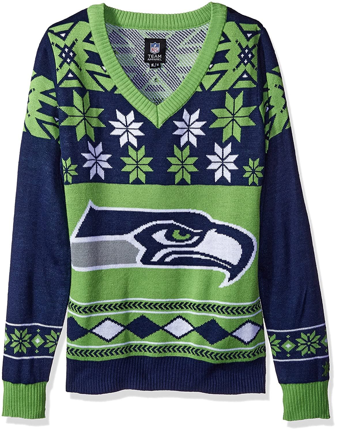 Seattle Seahawks Women's NFL Big Logo Ugly V-Neck Sweater Klew