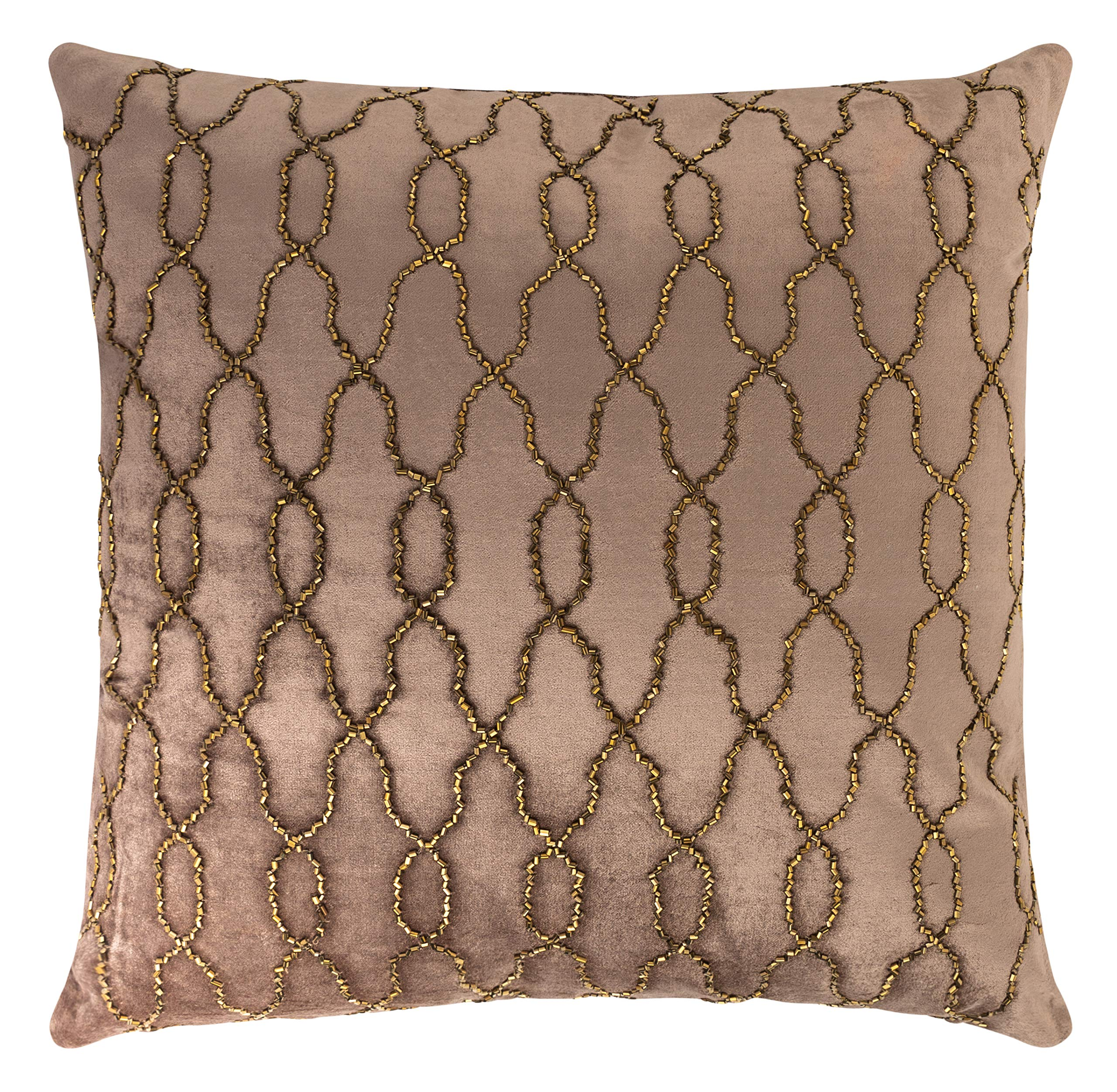CDM product Forest & Twelfth Home Velvet Throw Pillows-Decorative Beaded Throw Pillows for Living Room & Bedroom with 100% Polyester Filling-Soft Cotton Blend Home Decor Pillows (Potato Brown/Copper, 18 x 18) big image