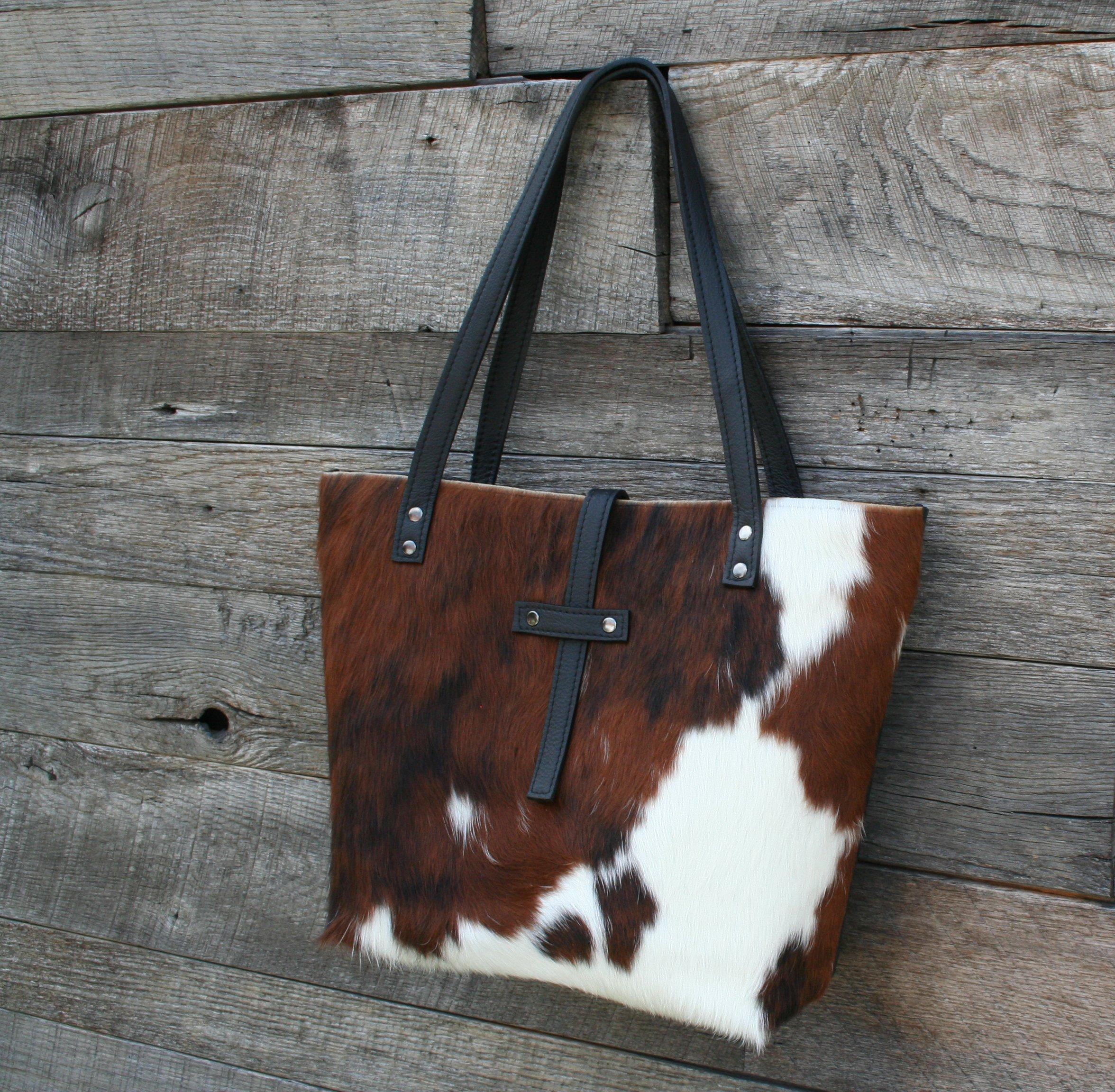 Hair on Hide Tote - Cowhide and Black Leather Bag