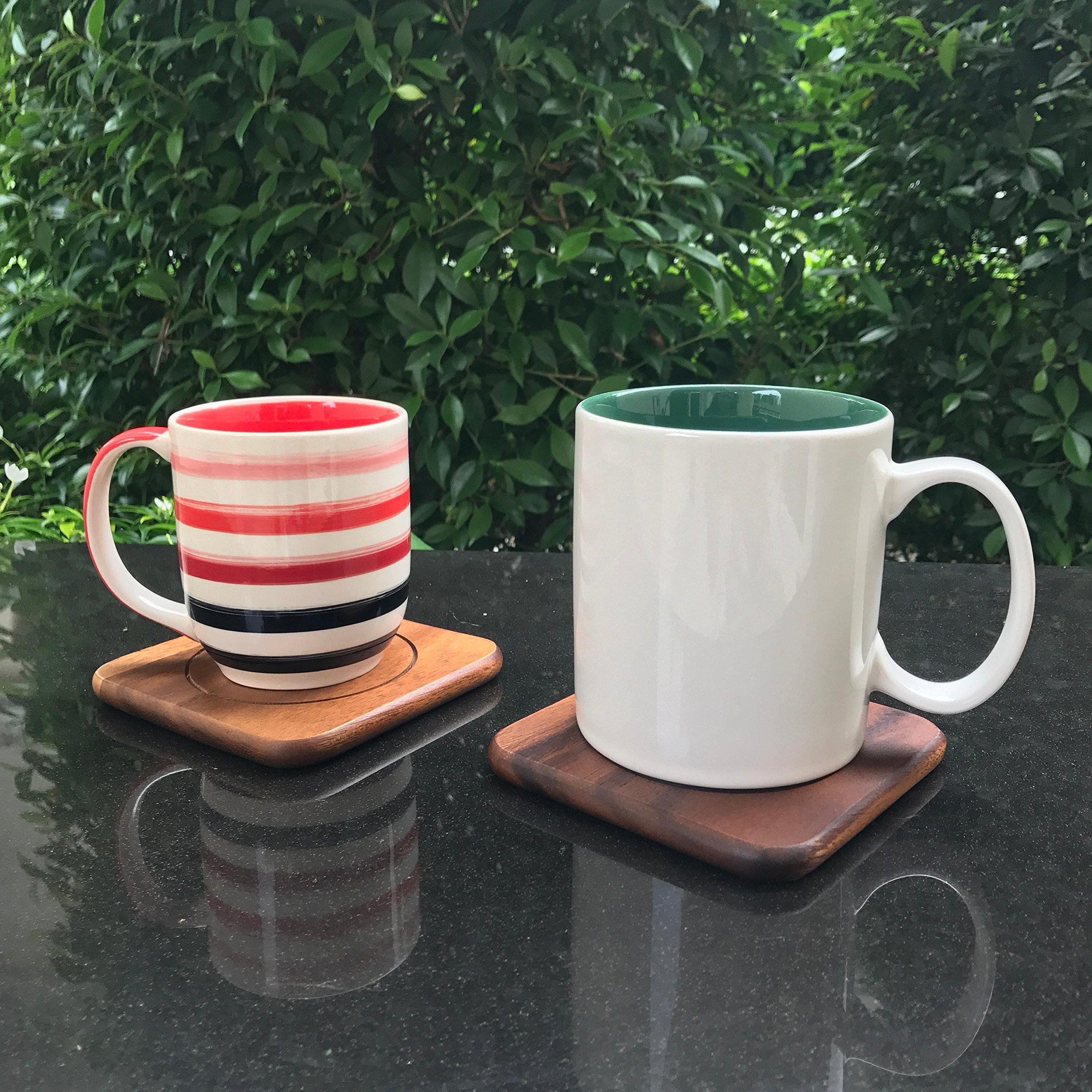 FAAY Acacia Coasters, Set of 6 w holder