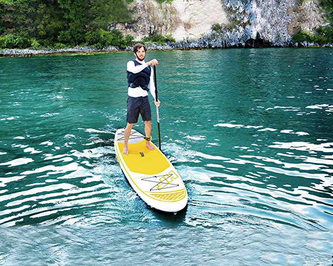 Bestway 65305 - Tabla Paddle Surf Hinchable Hydro-Force Cruiser Tech Bestway en blanco y amarillo (320 x 76 x 15 cm) con inflador y mochila deluxe: ...
