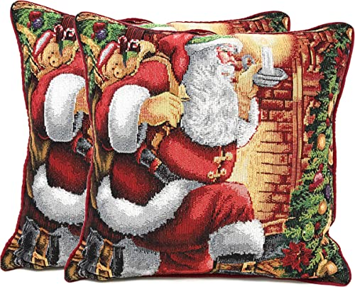 Tache Christmas Festive Winter Holiday Santa Down The Chimney Decorative Woven Tapestry Cushion Throw Pillow Cover Set, 2 Piece 16 x 16 Inches