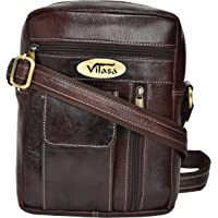 Vilasa Men's Genuine Leather Cross Body Bag - Brown