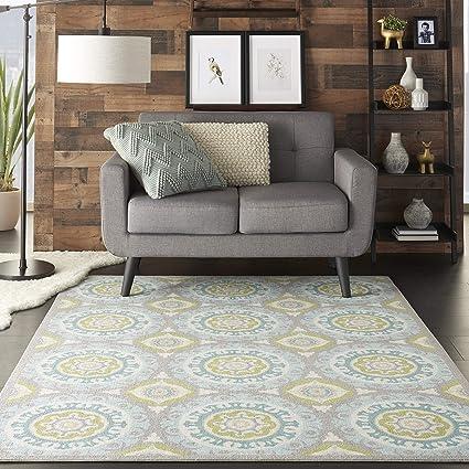 Nourison SND16 WAV01/Sun & Shade Boho Vibrant Indoor/Outdoor Aqua & Olive Area Rug 53
