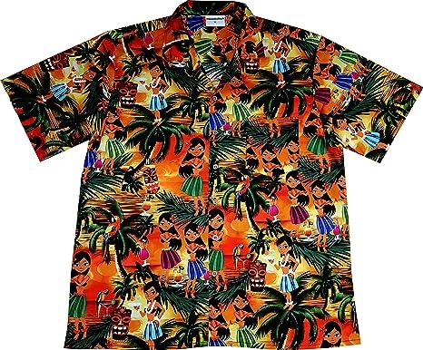 Camisa Hawaiana para Hombre Drunken Aloha Girls 100% algodón, S ...