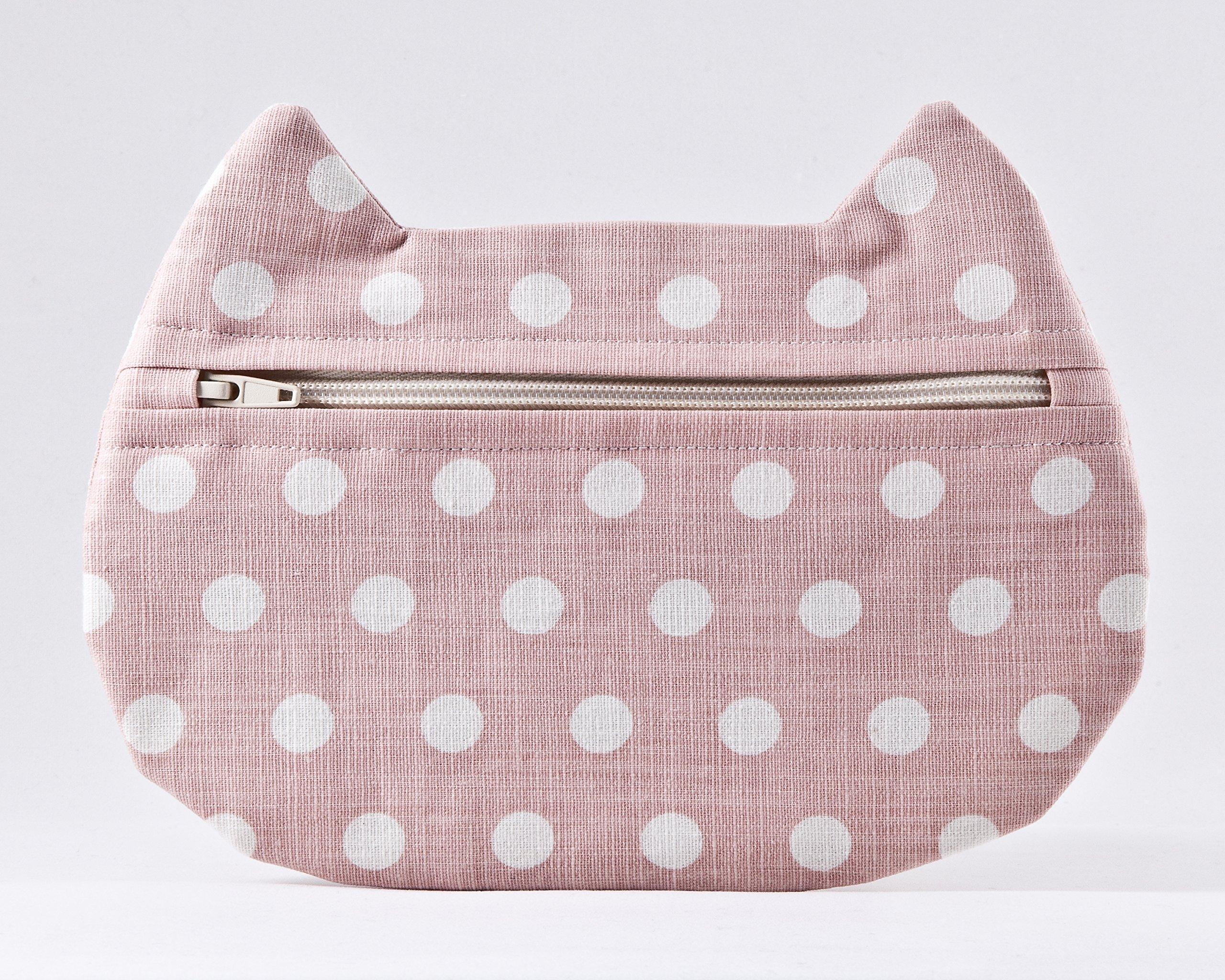 Pink Cosmetic Bag, Cat Makeup Bag, Polka Dot Pencil Case, Toiletries Bag, Beauty Bag