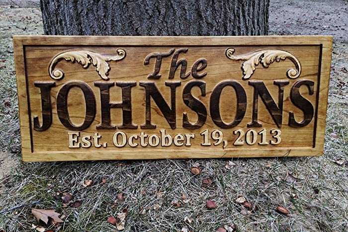 Personalized Lake House Sign Custom Wood Sign Carved Last Name Wooden Signs  Home Décor 3D Cabin