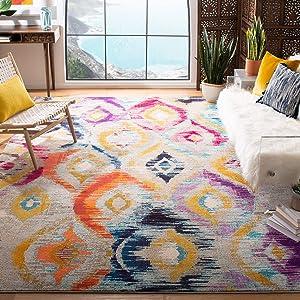 "Safavieh Monaco Collection MNC242F Modern Geometric Ogee Watercolor Multicolored Distressed Area Rug (5'1"" x 7'7"")"
